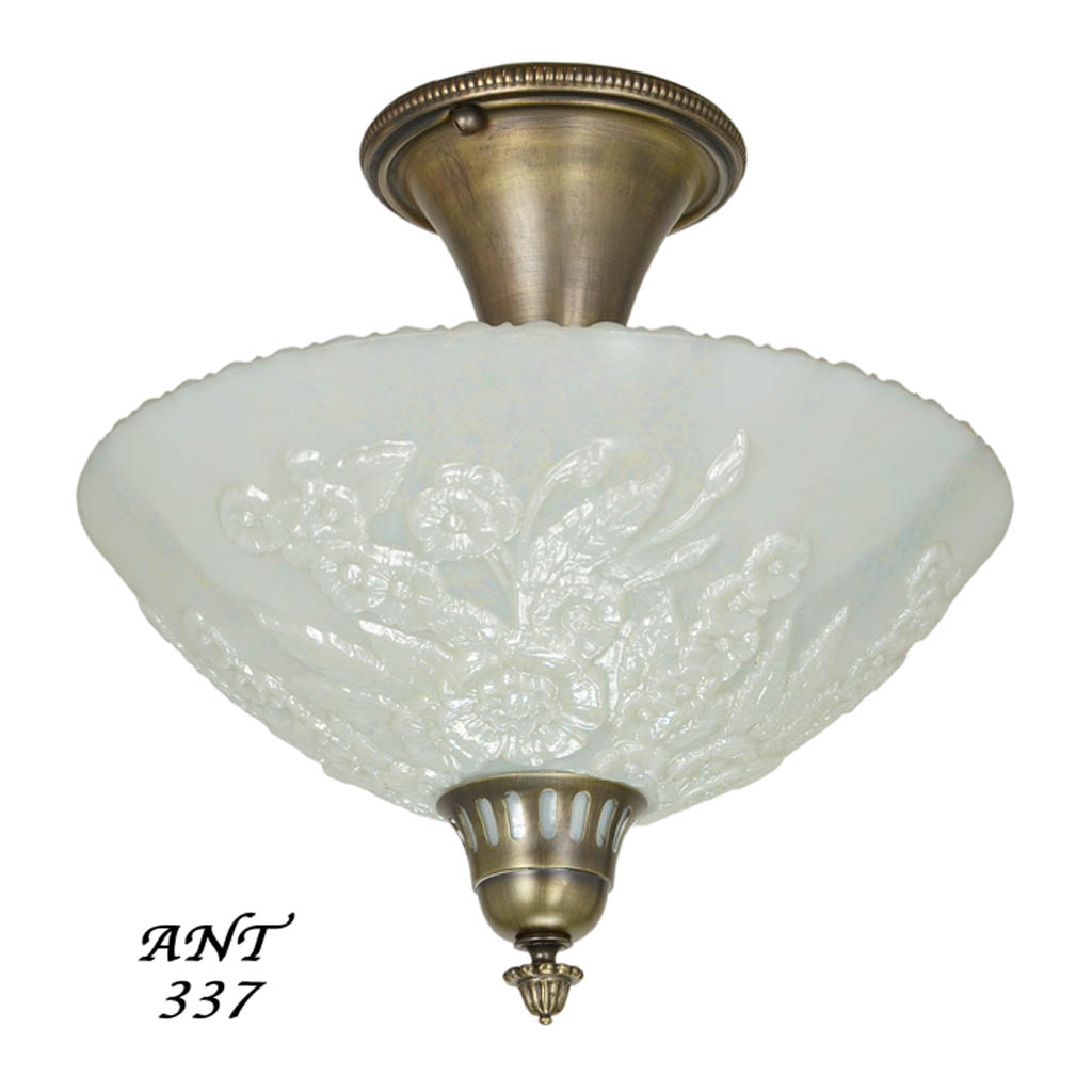 Antique Opal Glass Bowl Shade Ceiling Light Fixture Semi ...