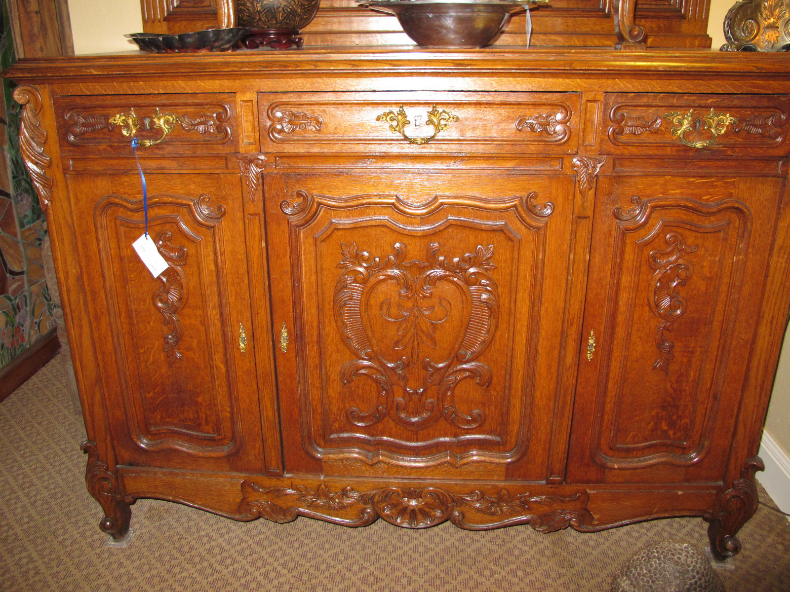 antique french buffet with etched beveled glass cabinet doors for