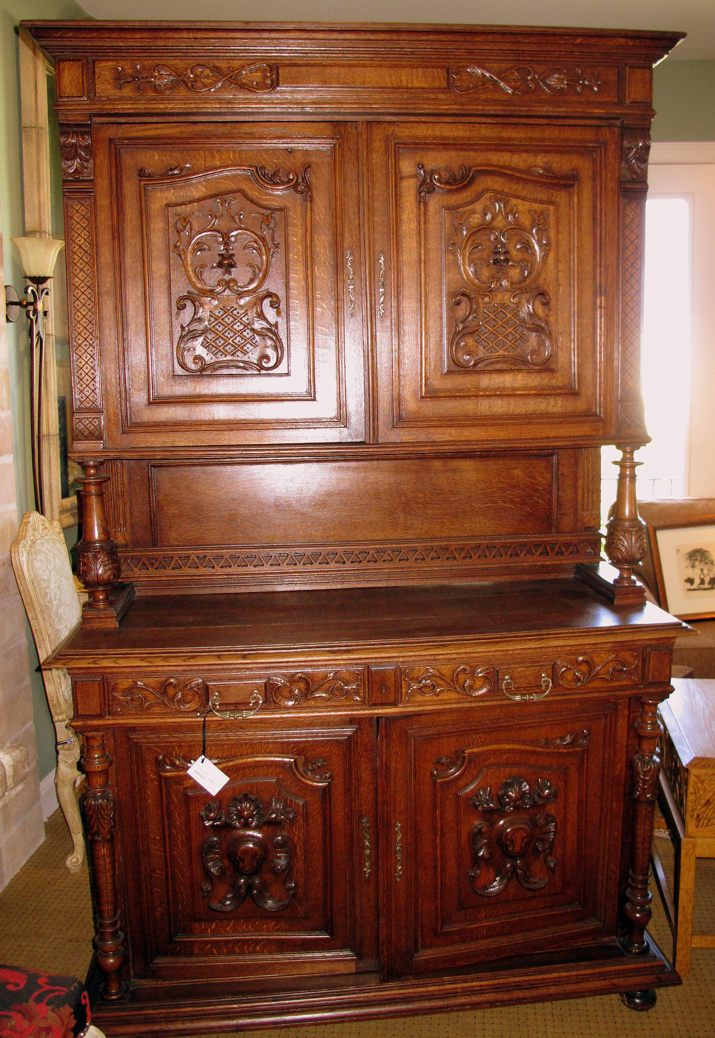 Beautifully Carved Antique French Hunt Cabinet For Sale ...