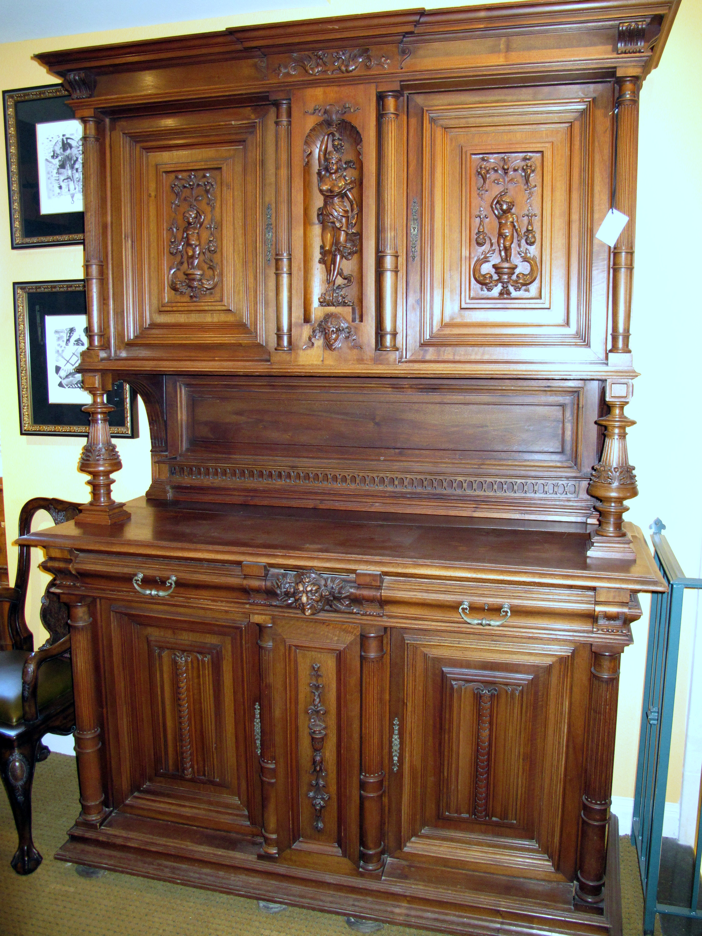 Antique Carved French Hunt Cabinet Buffet Sideboard