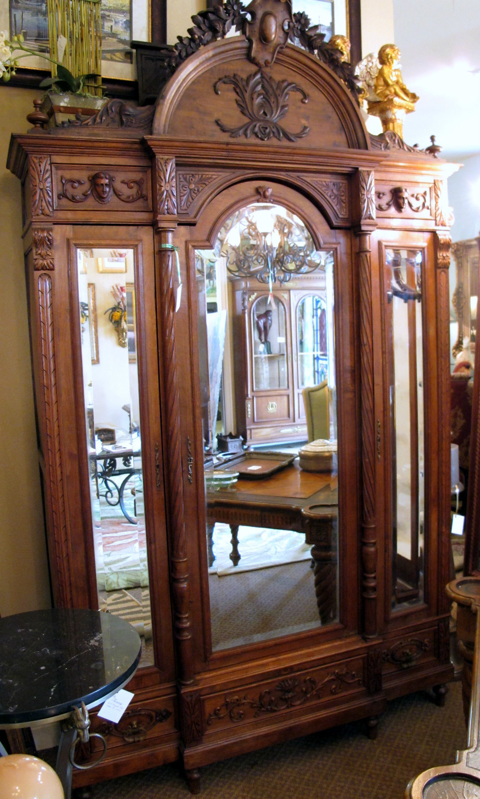 antique carved 3 door beveled mirror french armoire for. Black Bedroom Furniture Sets. Home Design Ideas