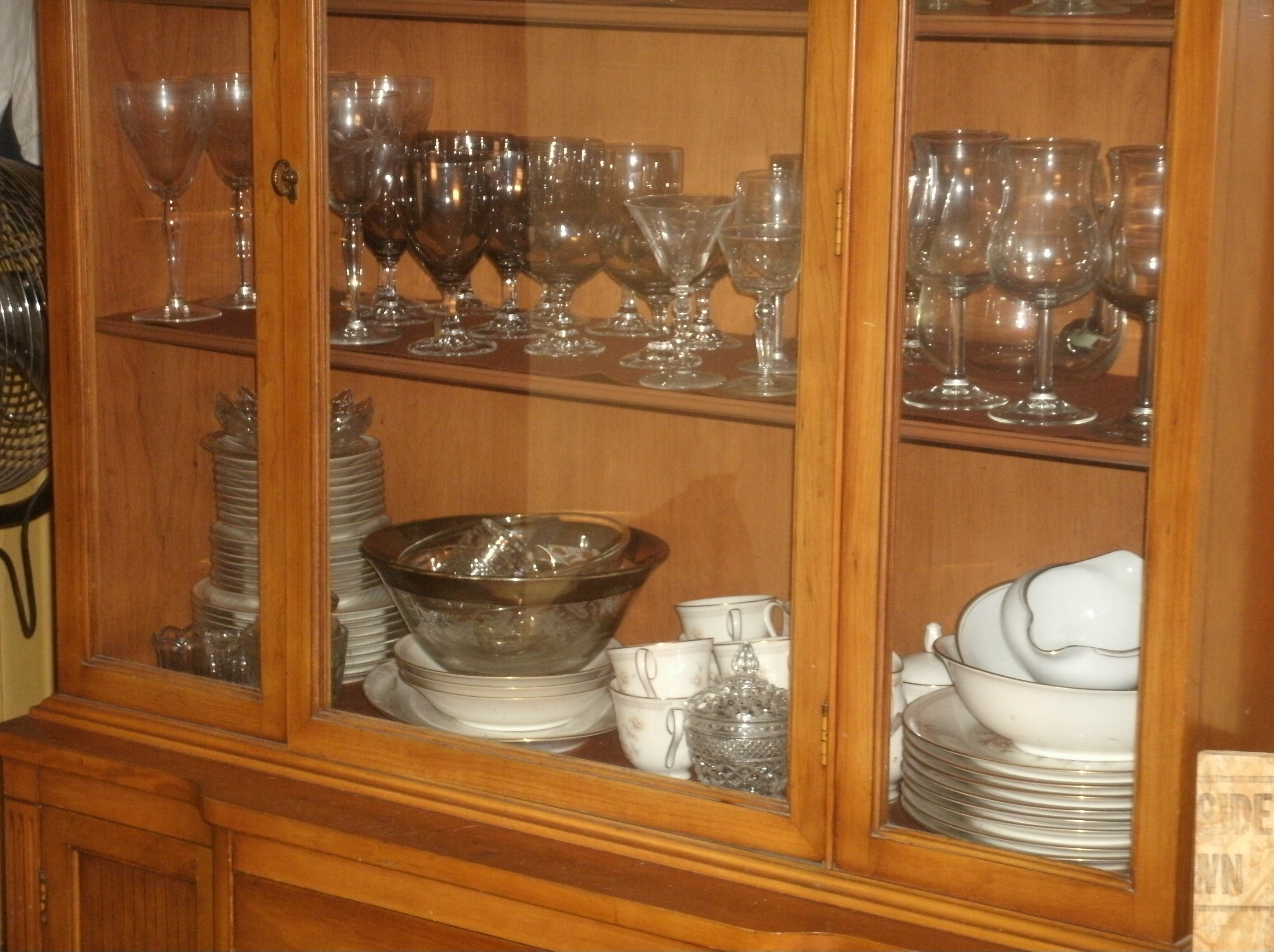 Cherry Oak China Cabinet Buffet Table And Six Chairs Set For Sale Antiques