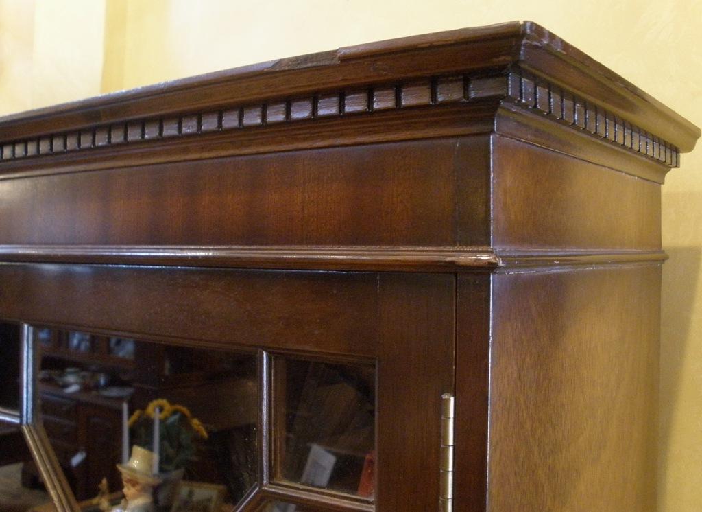 Vintage English Flame Mahogany Small Curio Cabinet, Bookcase ...