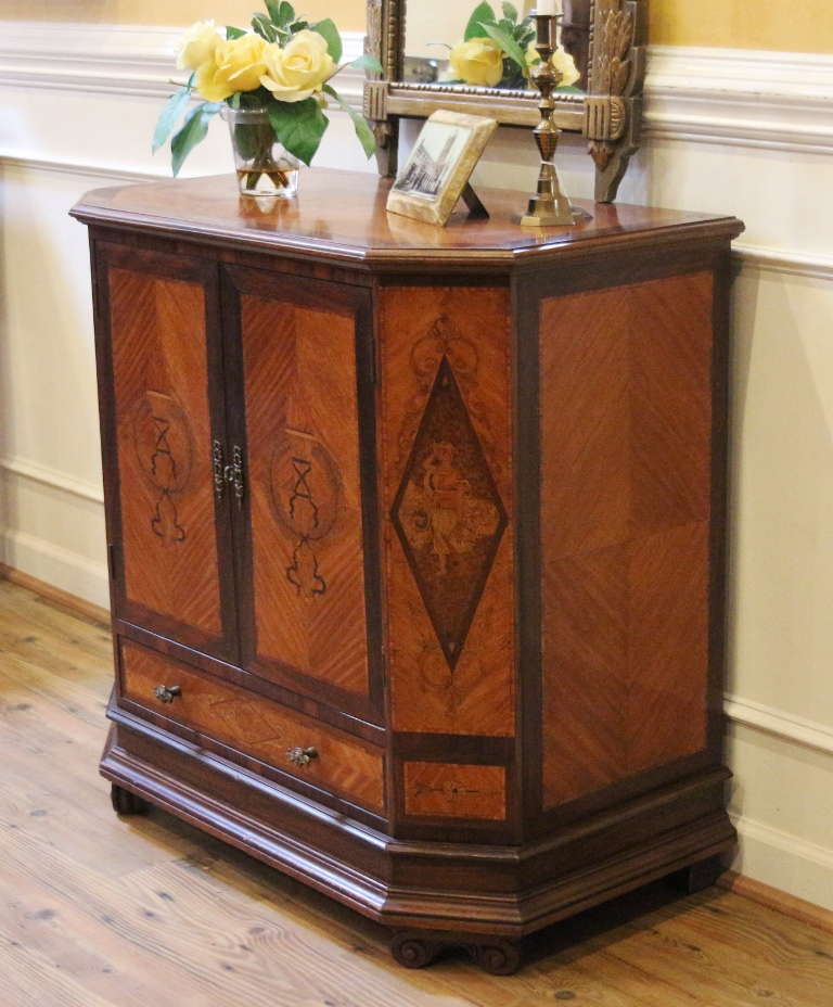 Antique Italian Inlaid Neoclassical Style Cabinet Console Server
