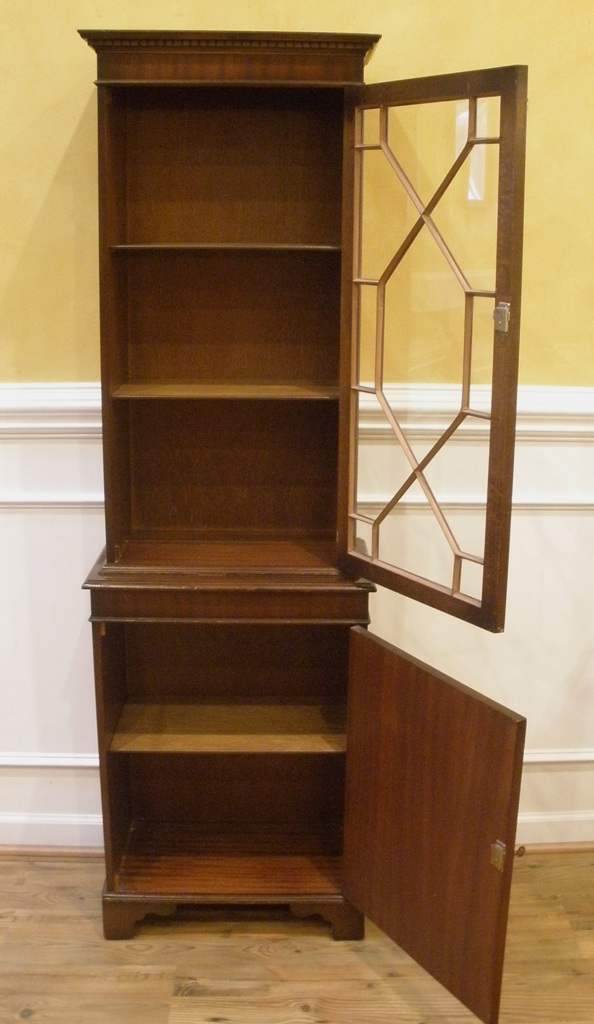 Vintage English Flame Mahogany Small Curio Cabinet Bookcase Display For