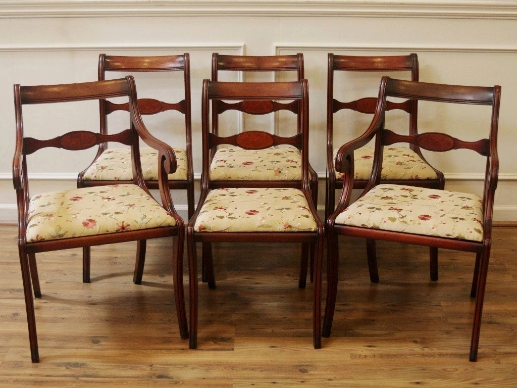 Vintage Dining Chairs Set Of 6 Regency Duncan Phyfe Style
