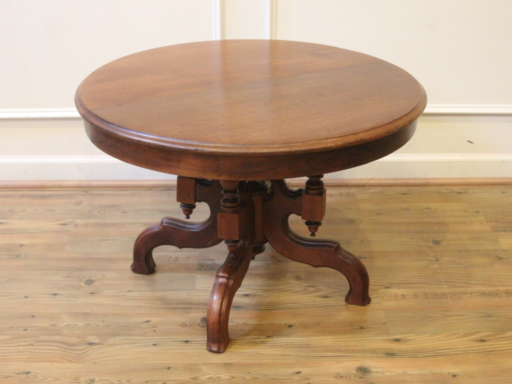 Antique Walnut Small Round Coffee Table Eastlake Style