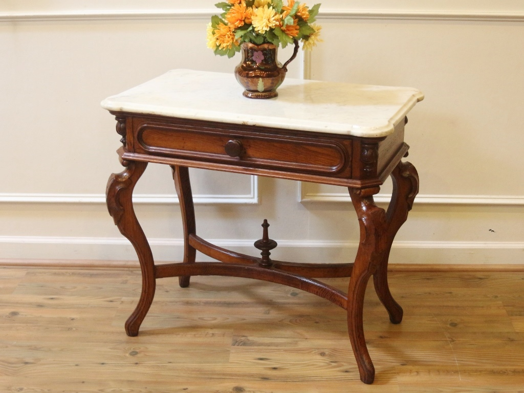Antique Marble Top Console Table With Beautifully Shaped And Carved Legs, A  Custom Shaped White With Gray Marble Top, And A Single Drawer With Wooden  Knob ...