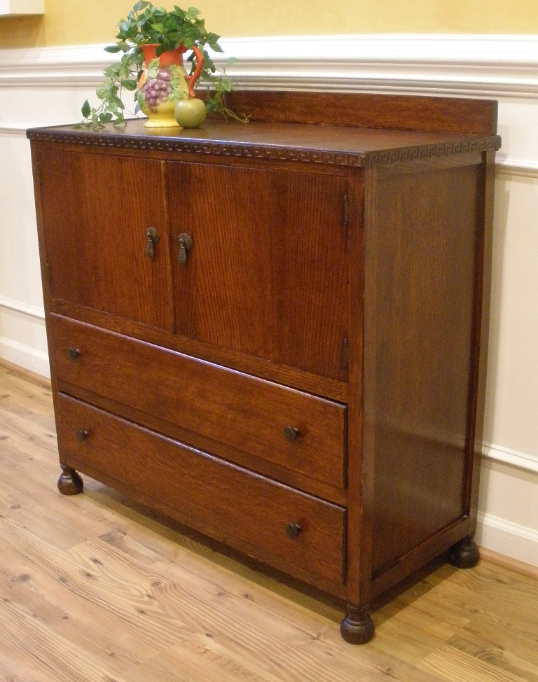 Vintage Art Deco English Oak Server Sideboard Tall Boy