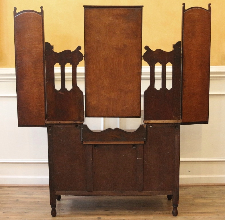 This antique triple mirror vanity dresser is made from beautiful solid  walnut and is English dating back to the turn of the 20th century. - Antique Vanity Dresser With Triple Mirror, Walnut, English C.1900