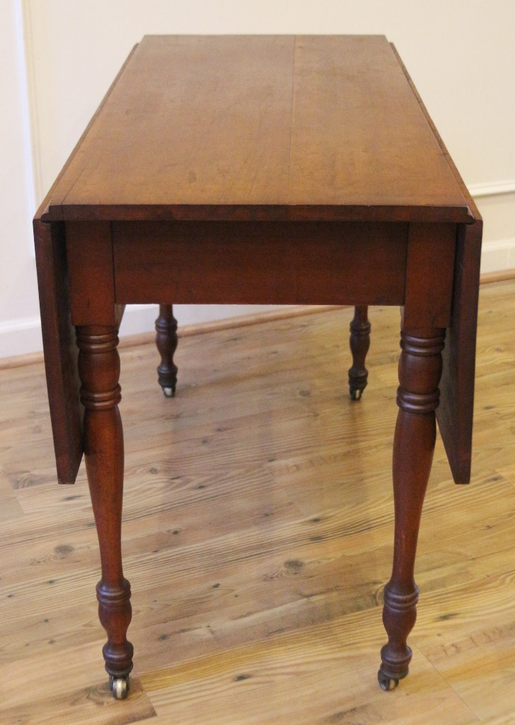 Antique Cherry Wood Rustic Farmhouse Drop Leaf Dining Table