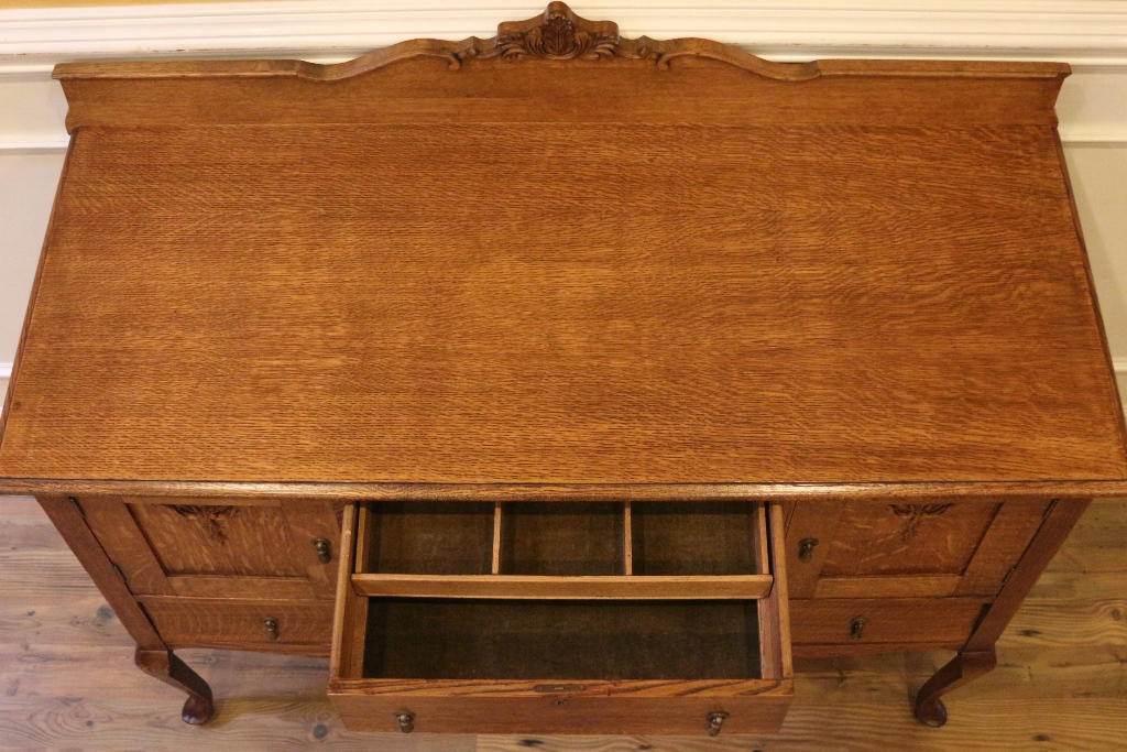 Antique Golden Oak Sideboard Server Buffet Country Style American C 1900 For