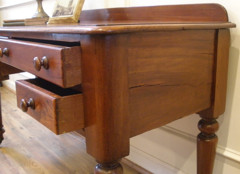 Antique Victorian English Mahogany Desk Sofa Table