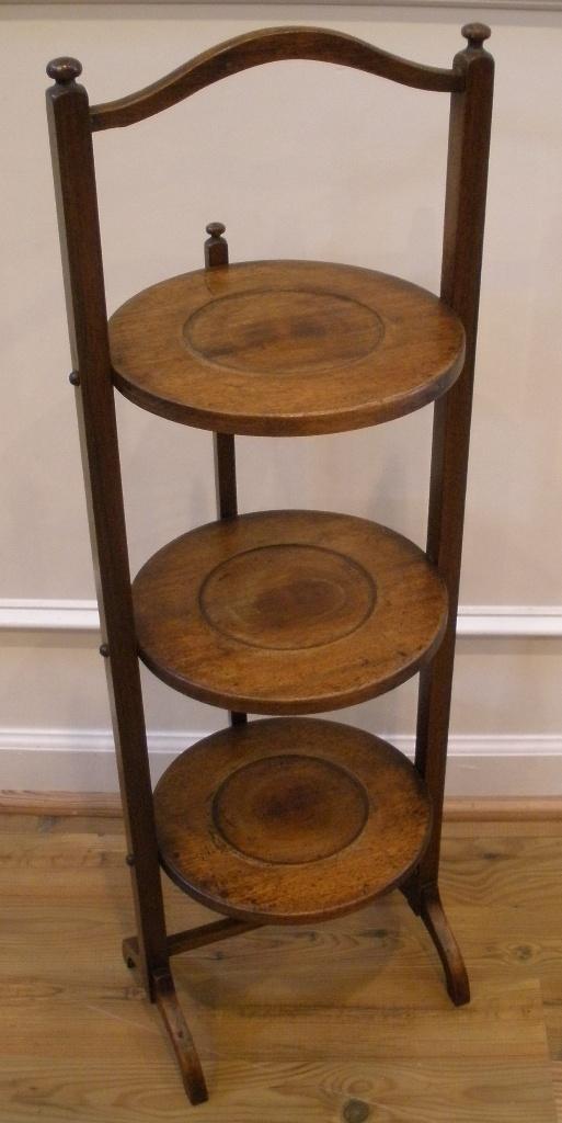 Antique English Mahogany Three Tier Cake Stand Display