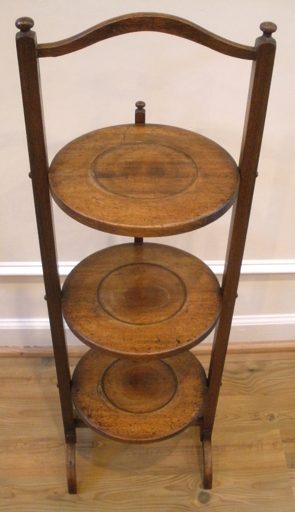 Antique English Mahogany Three Tier Cake Stand Display