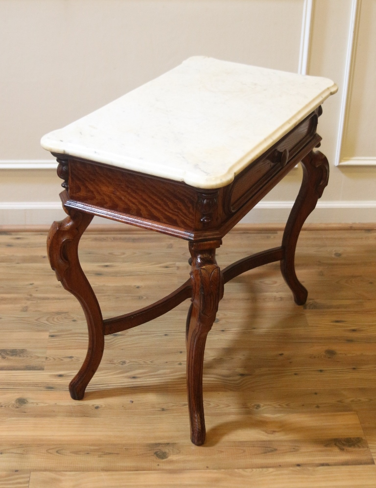Antique Marble Top Console End Or Accent Table Victorian