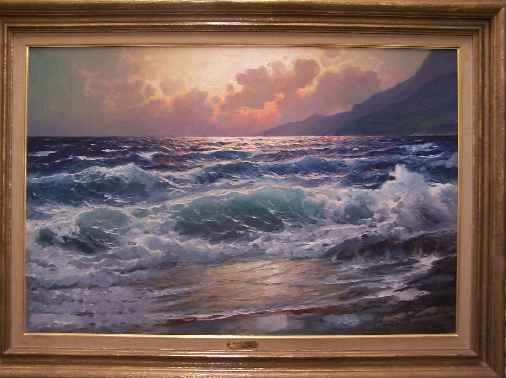 Superb 20th C American Original Oil Painting ''Pacific Sunset'' By