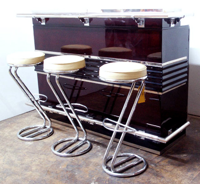 art deco bar 3 matching bar stools for sale antiques. Black Bedroom Furniture Sets. Home Design Ideas