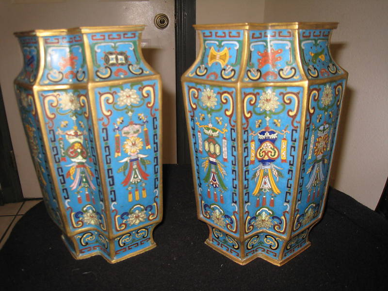 A Pair Of Chinese Cloisonne Vases 18th Century With Mark