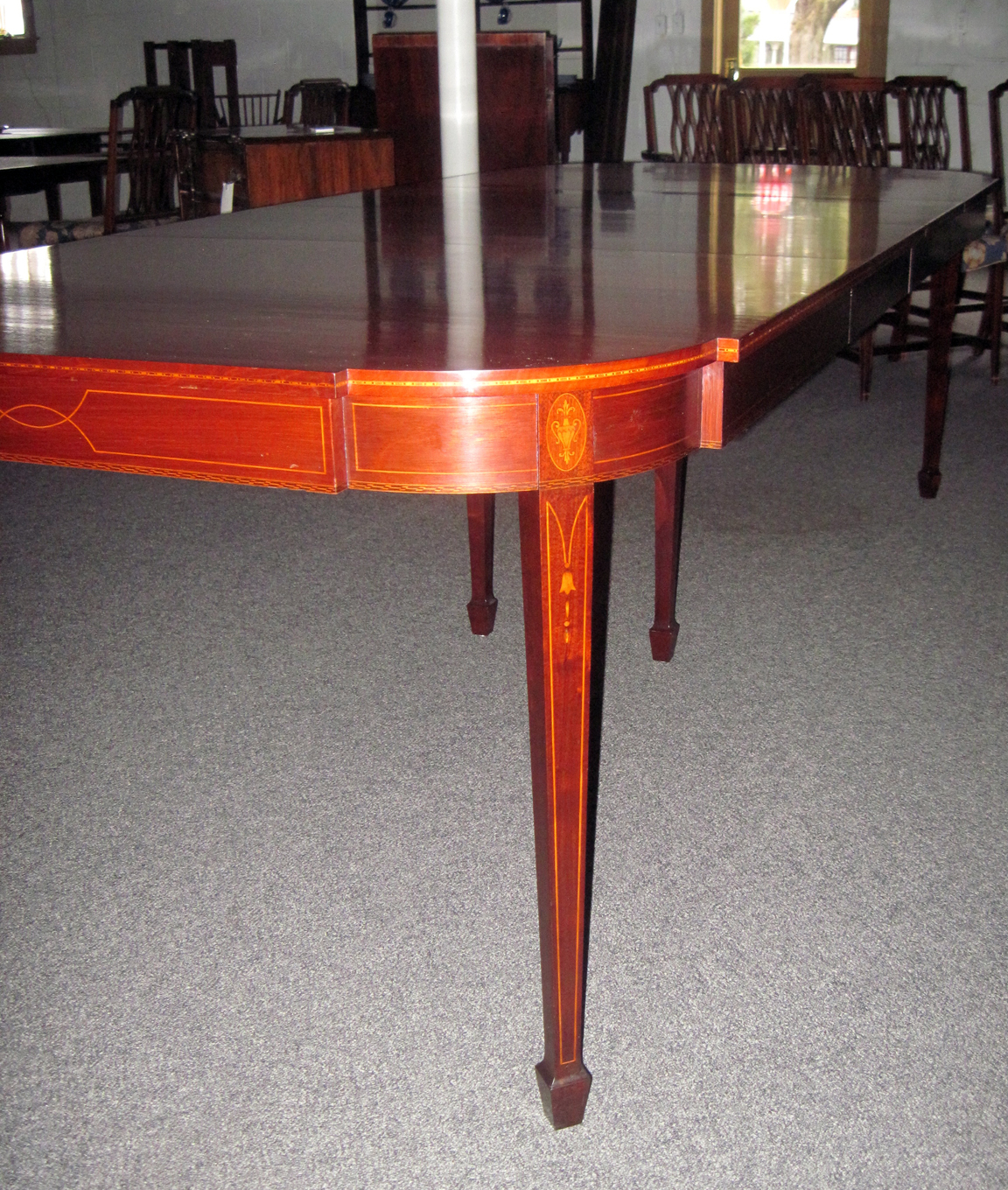 Signed Margolis Inlaid Hepplewhite Table. Circa 1930s. Table Is Solid  Mahogany Having Bell Flower Inlay On Legs As Well As Line Inlay Throughout.