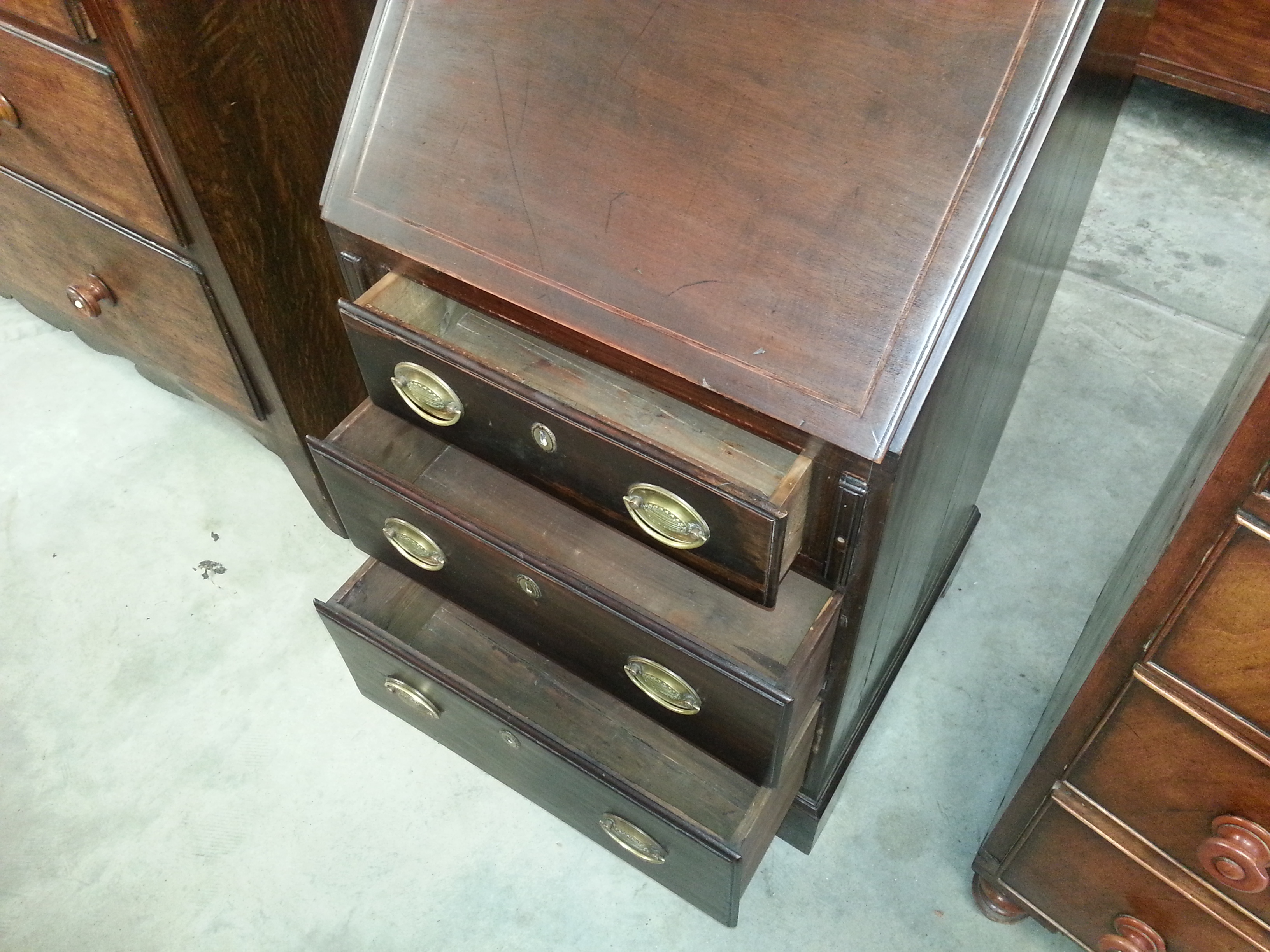 An English Victorian Mid 1800 S Gany Slant Top Desk 3 Main Drawers And 5 Inside Green Felt All Original Hardware Antique Furniture