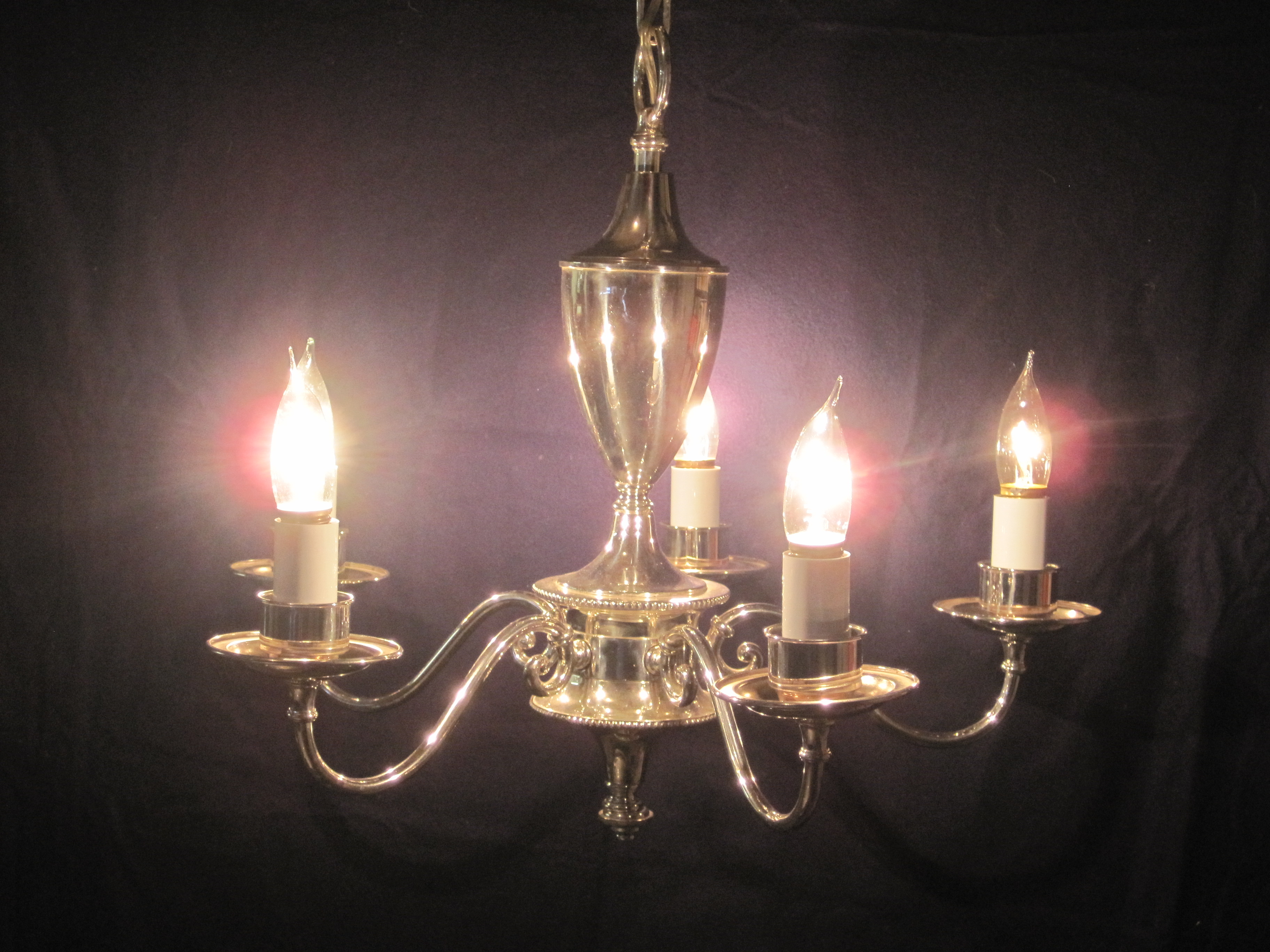 Classic Silver Plated Five Light Chandelier, Early 1900's
