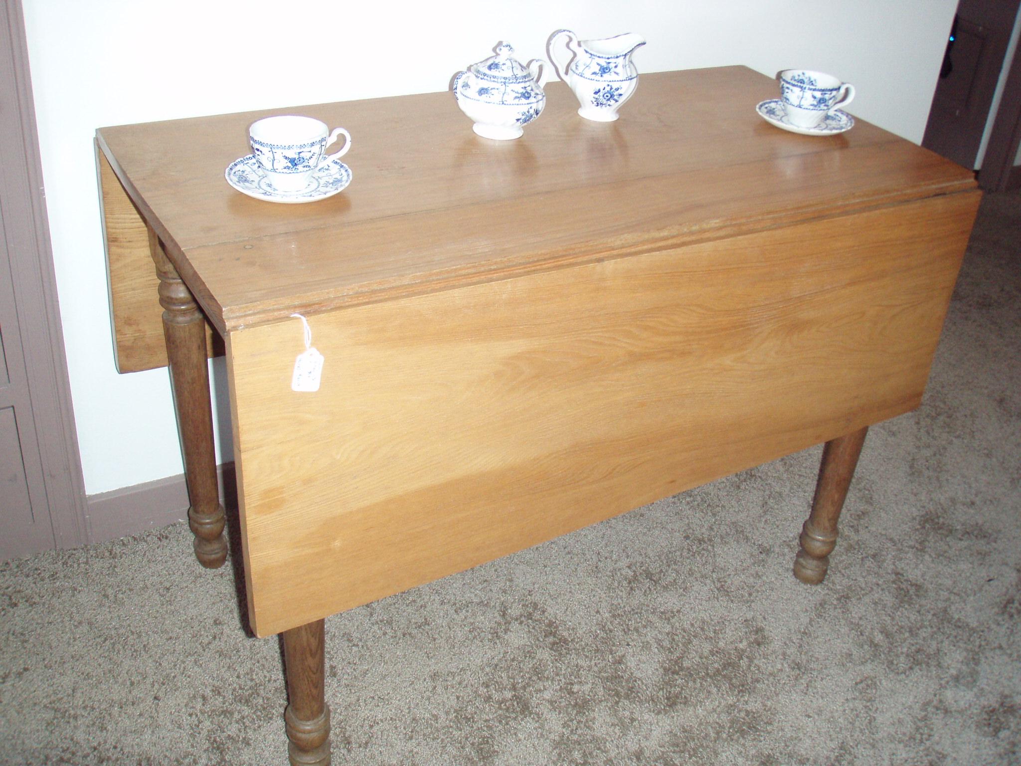 Antique Light Oak Drop Leaf Farm Table For Sale Antiques