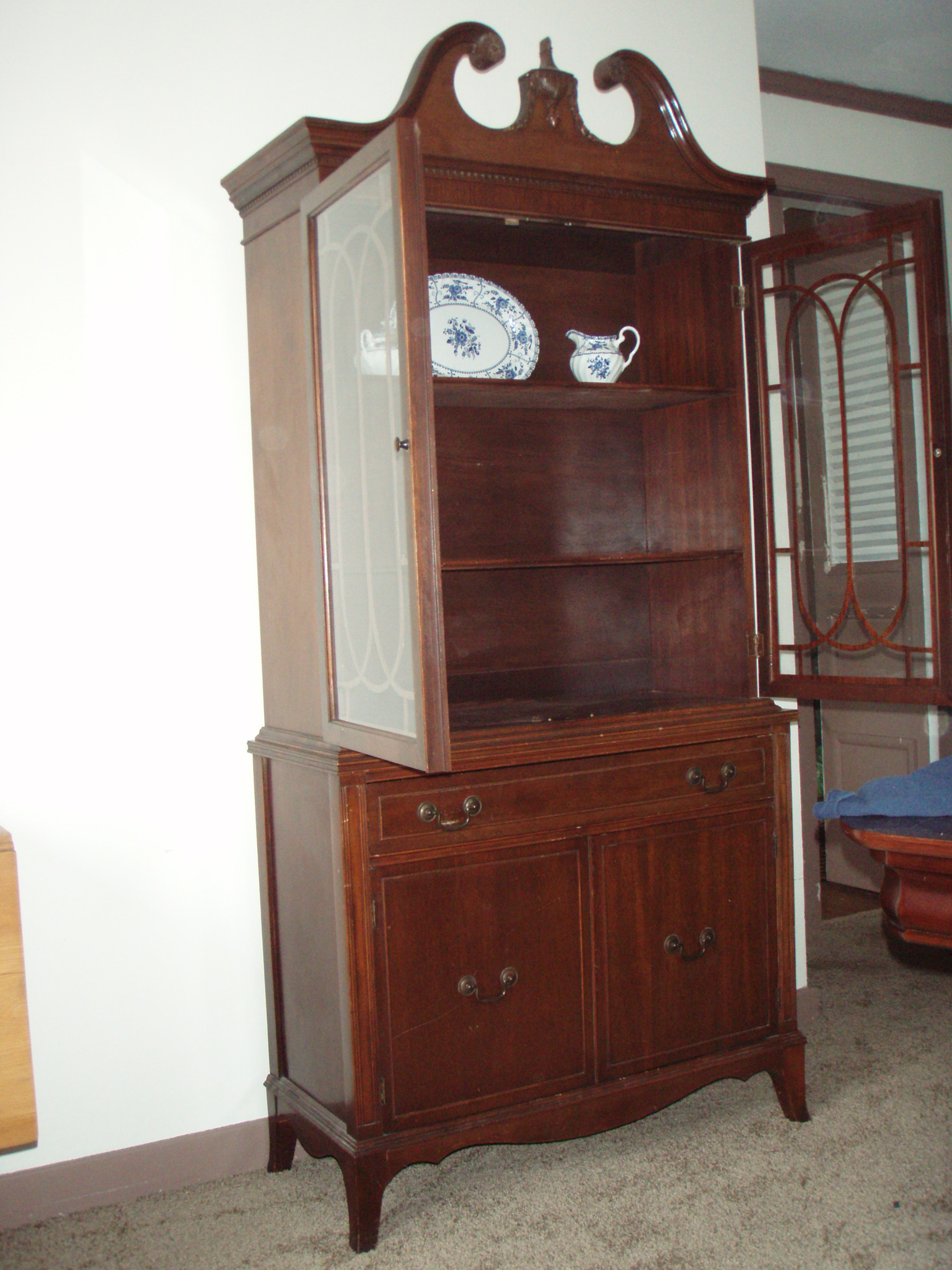 Vintage Mahogany China Cabinet For Sale | Antiques.com ...