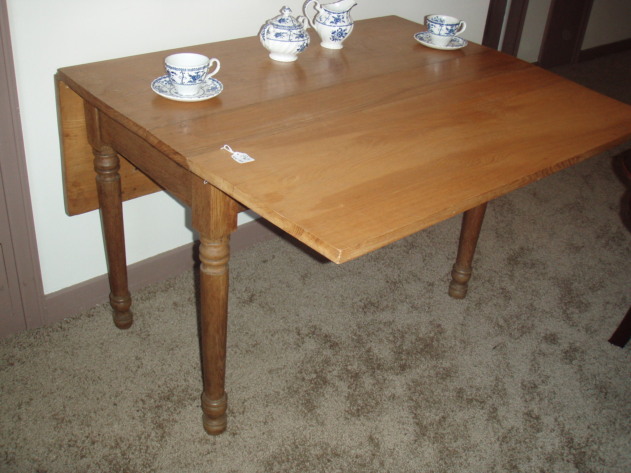 Antique Light Oak Drop Leaf Farm Table For Sale Antiques