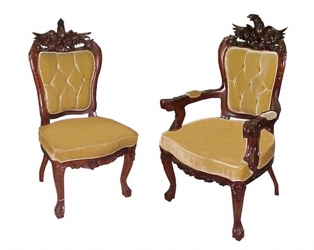 fabulous 8 piece carved eagle chair set c 1885 for sale