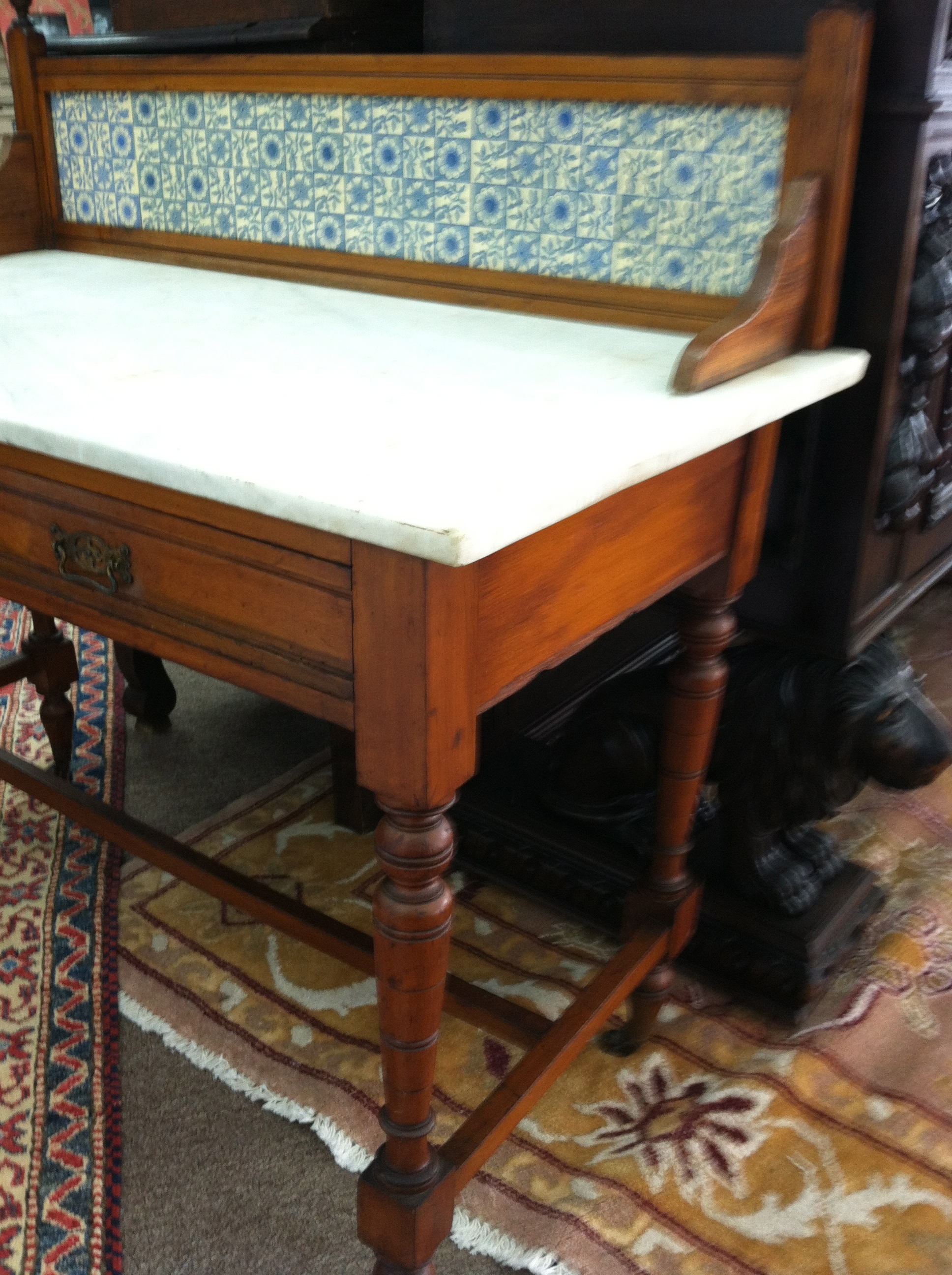 Gorgeous Antique Marble Top Wash Stand With Blue Tile Backsplash Circa 19th  Century   For Sale