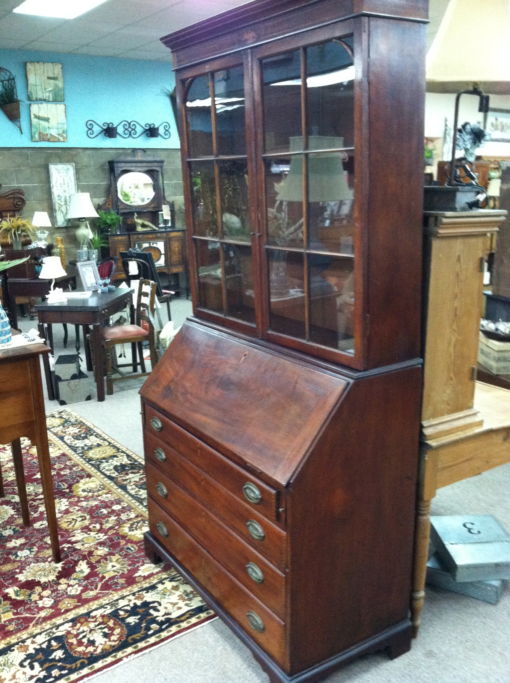 gorgeous antique american mahogany secretary desk with eagle inlay circa 18th century for sale. Black Bedroom Furniture Sets. Home Design Ideas