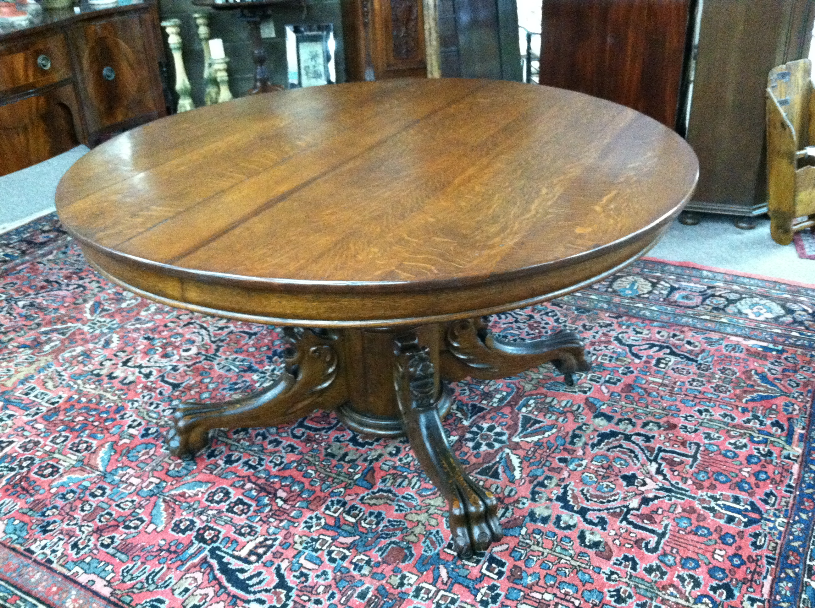 gorgeous antique oak round pedestal dining center table with griffin legs circa 19th century for. Black Bedroom Furniture Sets. Home Design Ideas