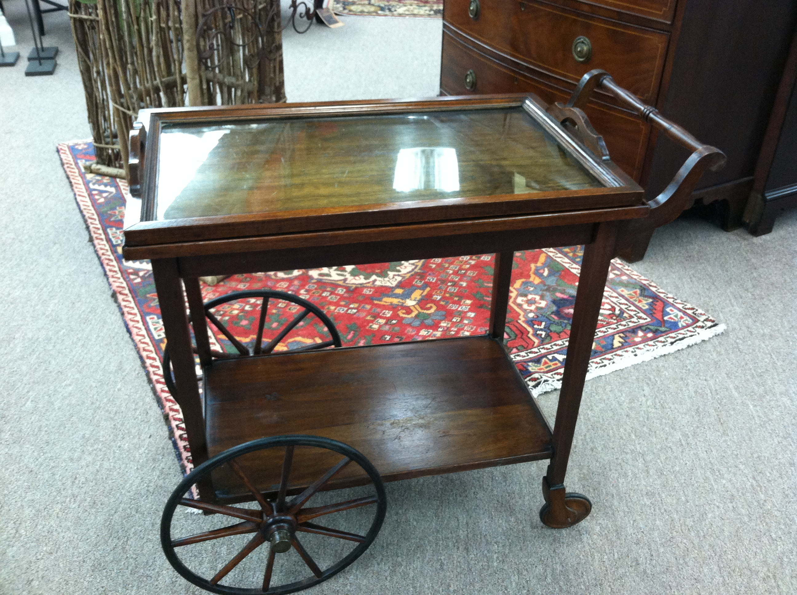 Gorgeous Antique Mahogany Rolling Tea Cart circa 1920 For Sale : Antiques.com : Classifieds