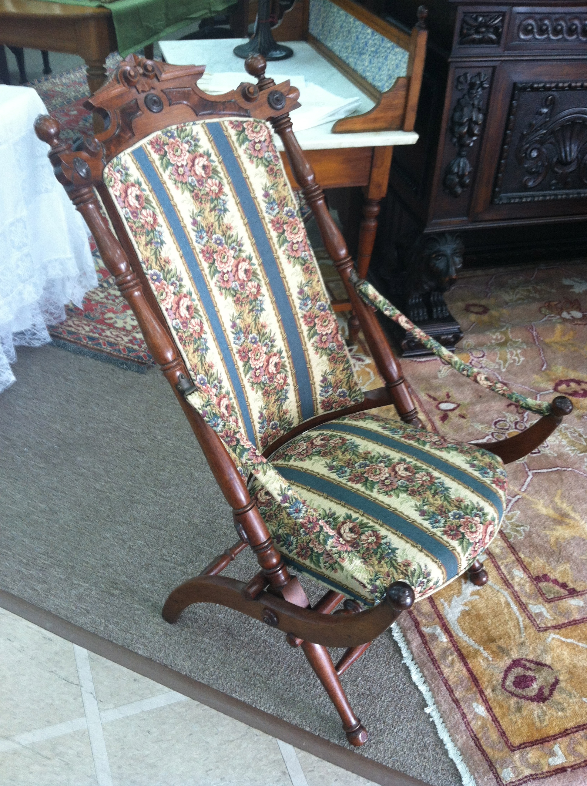 Gorgeous Antique Walnut Victorian Upholstered Folding Chair Circa 1880    For Sale