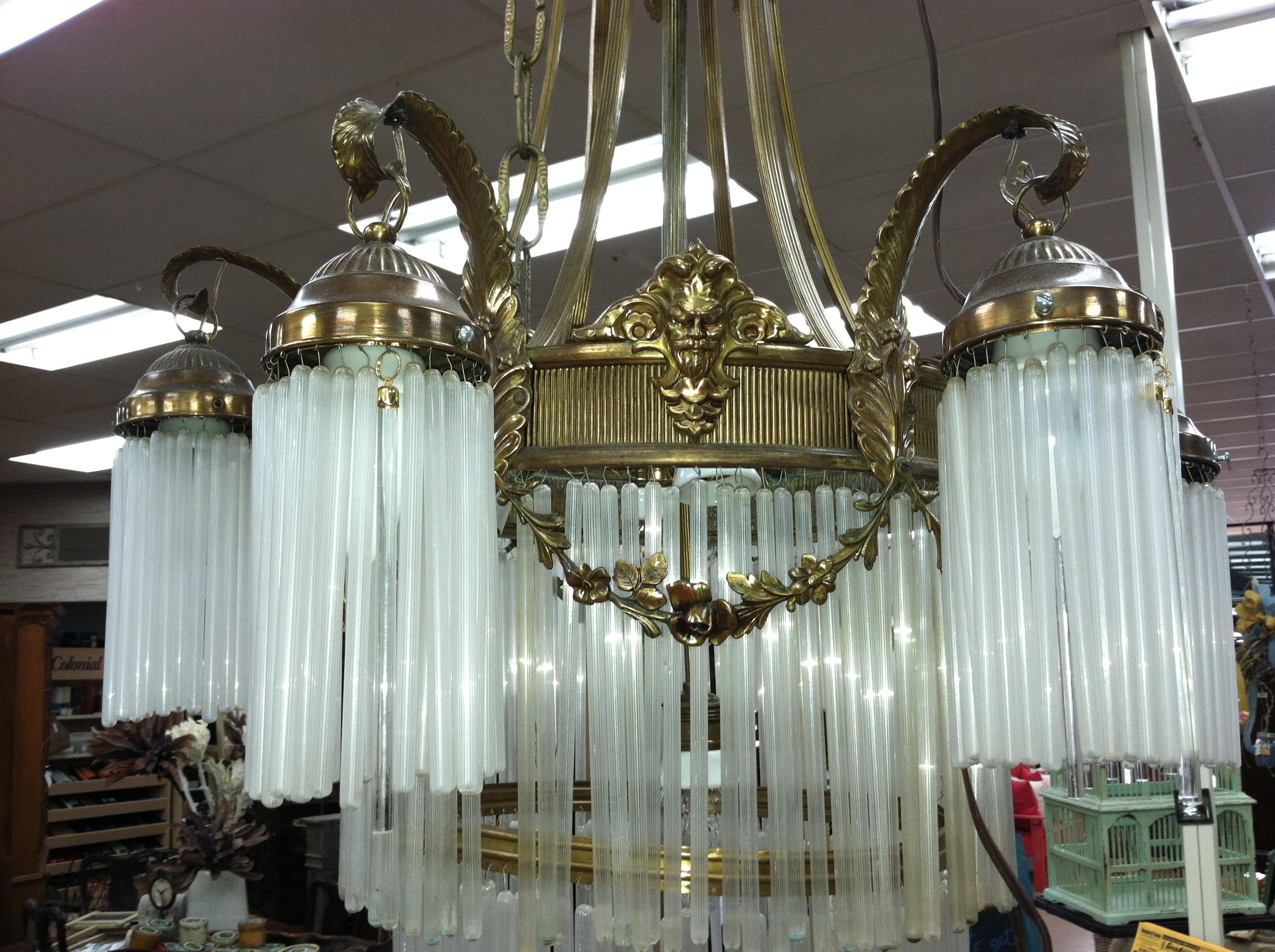 Gorgeous Antique Art Nouveau 9 Light Bronze Chandelier