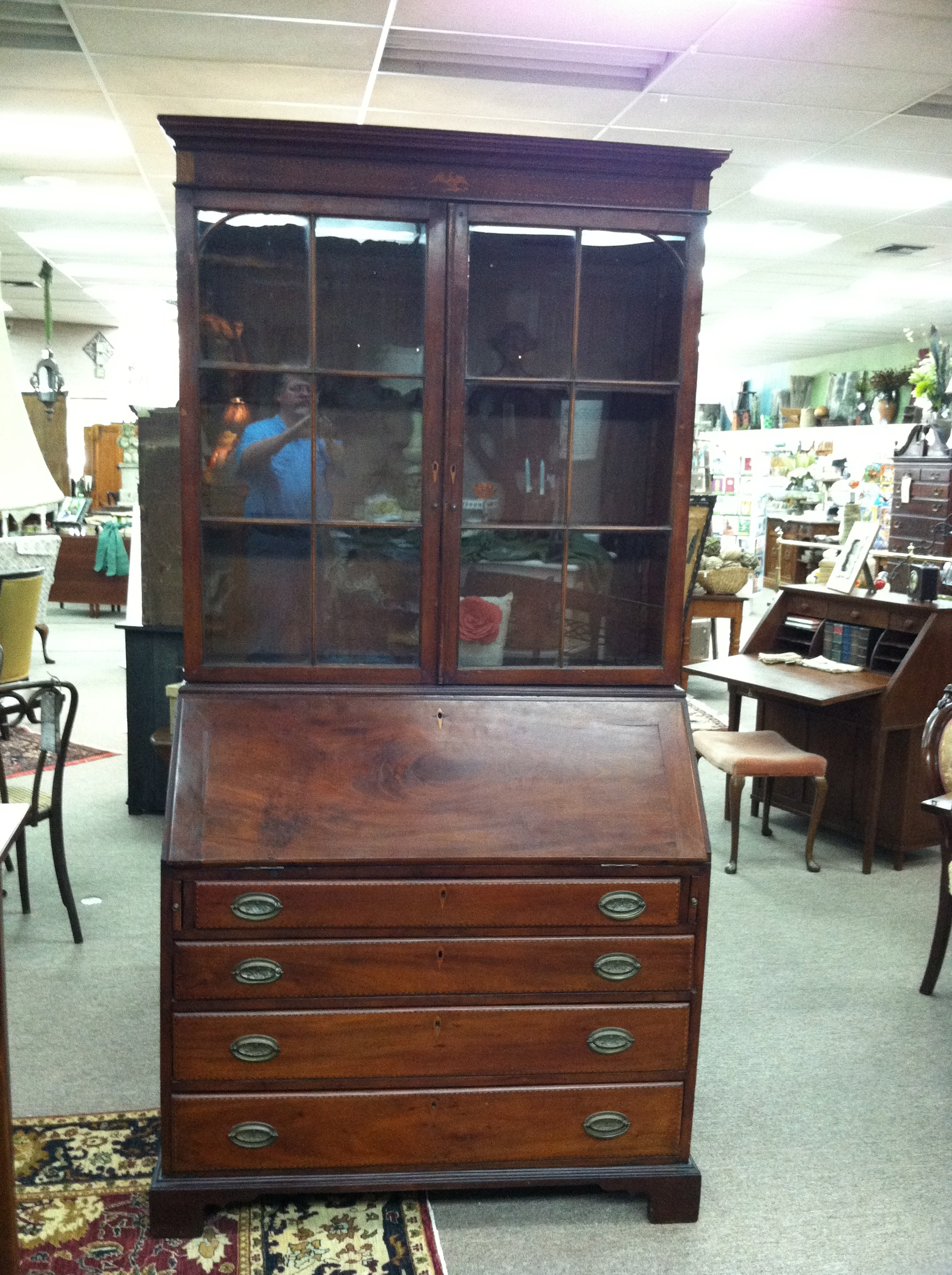 Gorgeous Antique American Mahogany Secretary Desk with ...