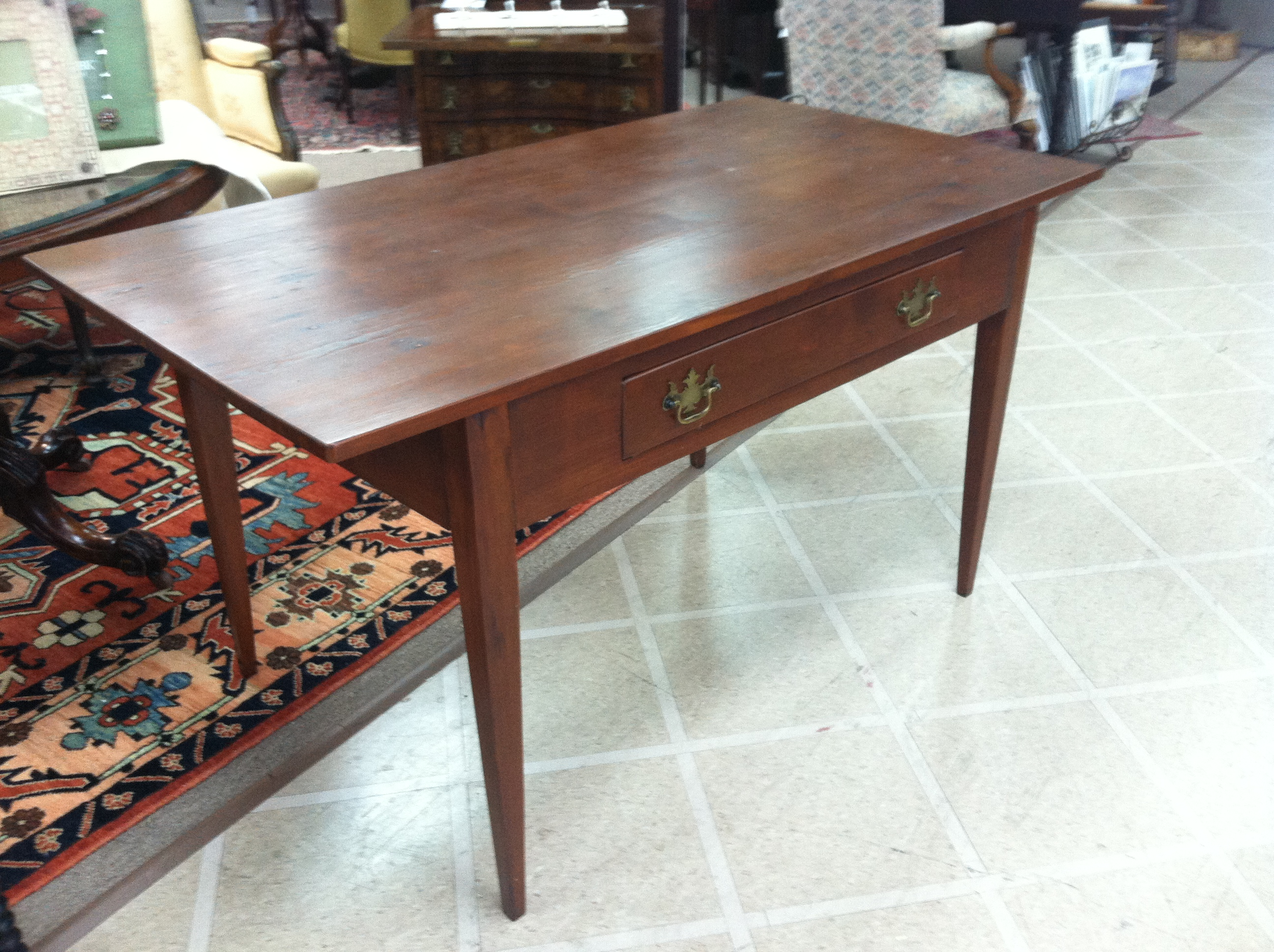 gorgeous antique pine cabinet makers one drawer work table or desk circa 1800 for sale. Black Bedroom Furniture Sets. Home Design Ideas
