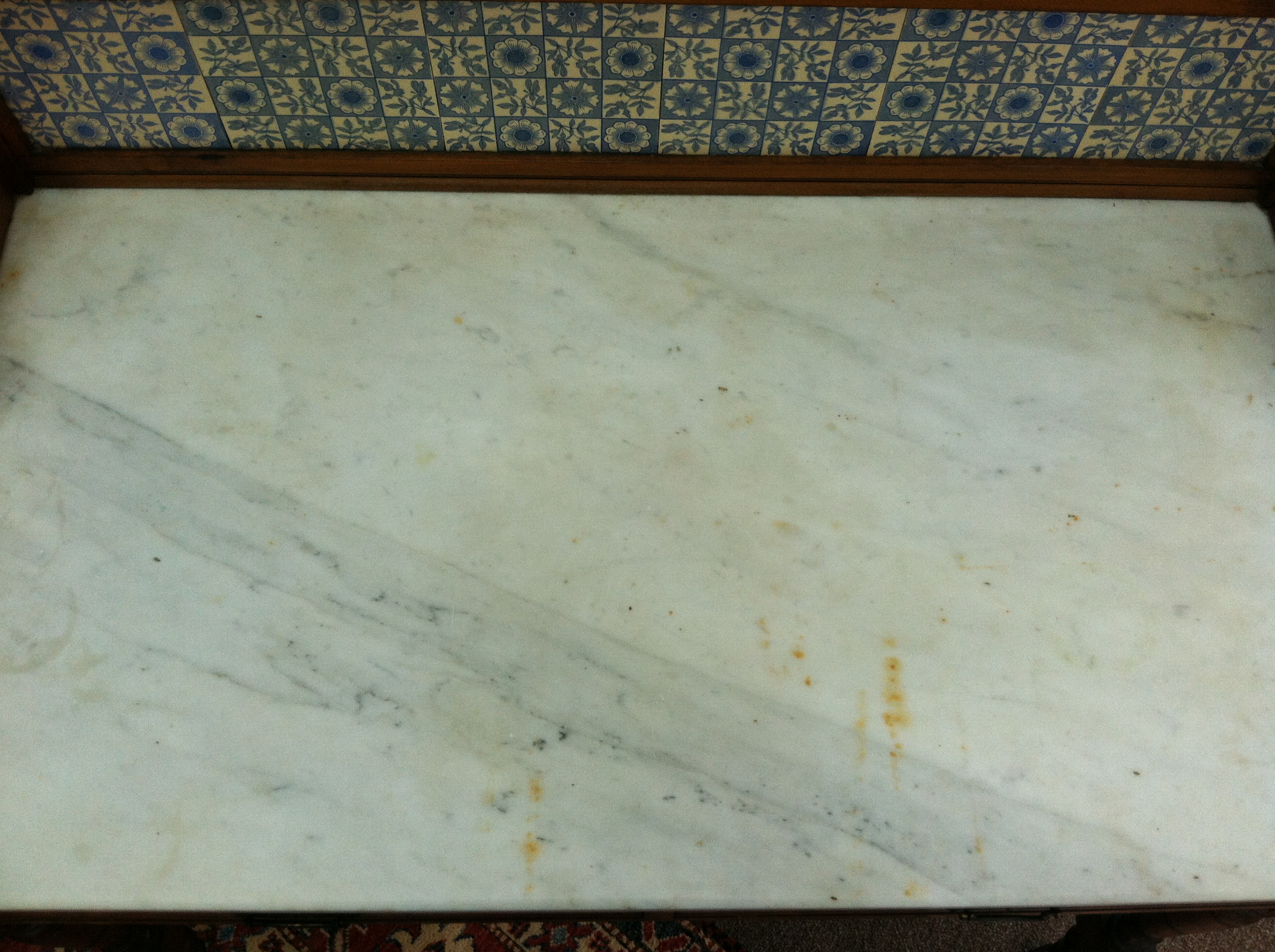 gorgeous antique marble top wash stand with blue tile