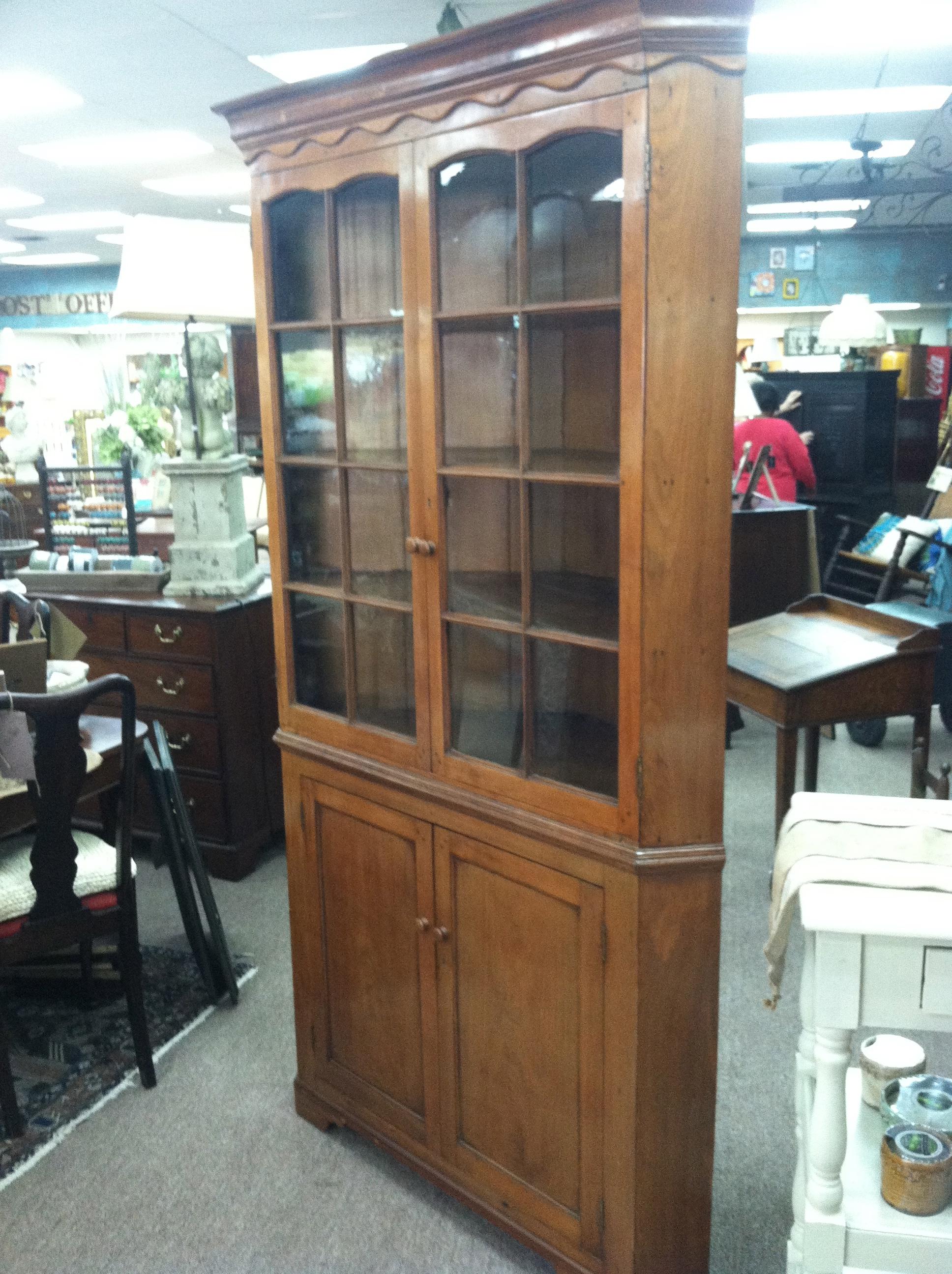 Gorgeous Antique Walnut Glass Door Corner Cupboard