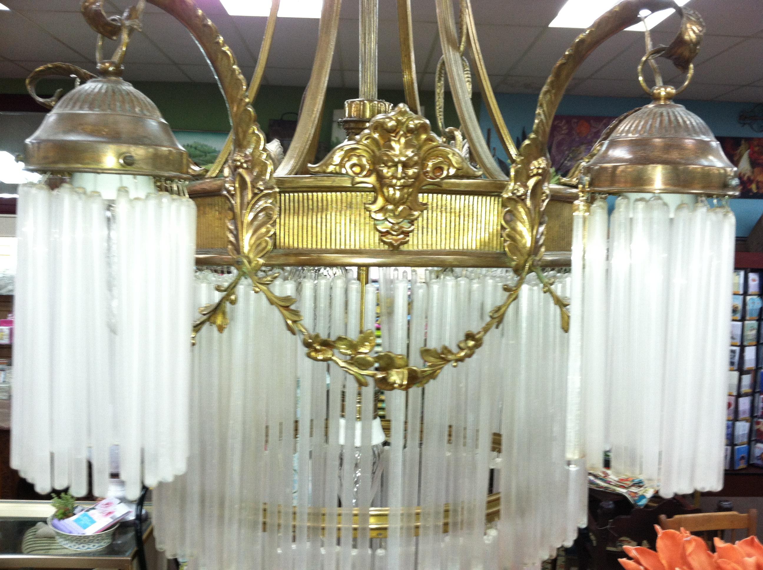 Gorgeous antique art nouveau 9 light bronze chandelier with glass gorgeous antique art nouveau 9 light bronze chandelier with glass tubes circa 19th century for sale arubaitofo Image collections