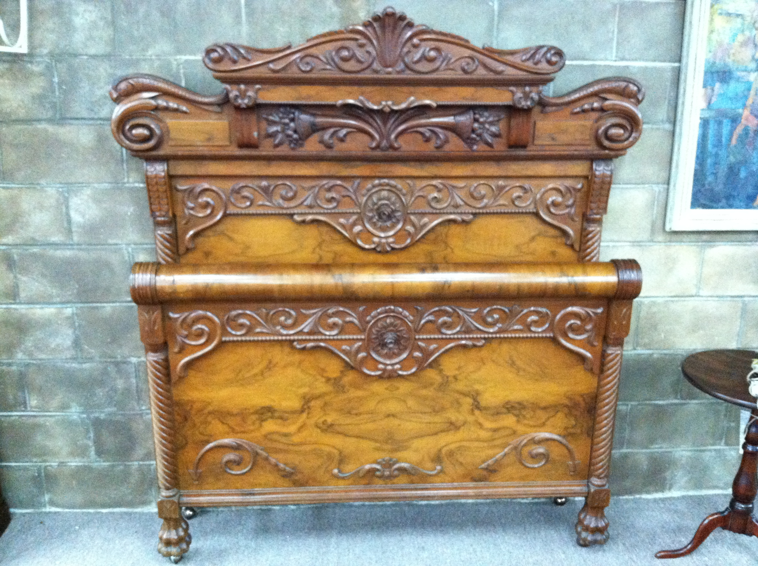 Gorgeous antique victorian burled walnut carved double bed