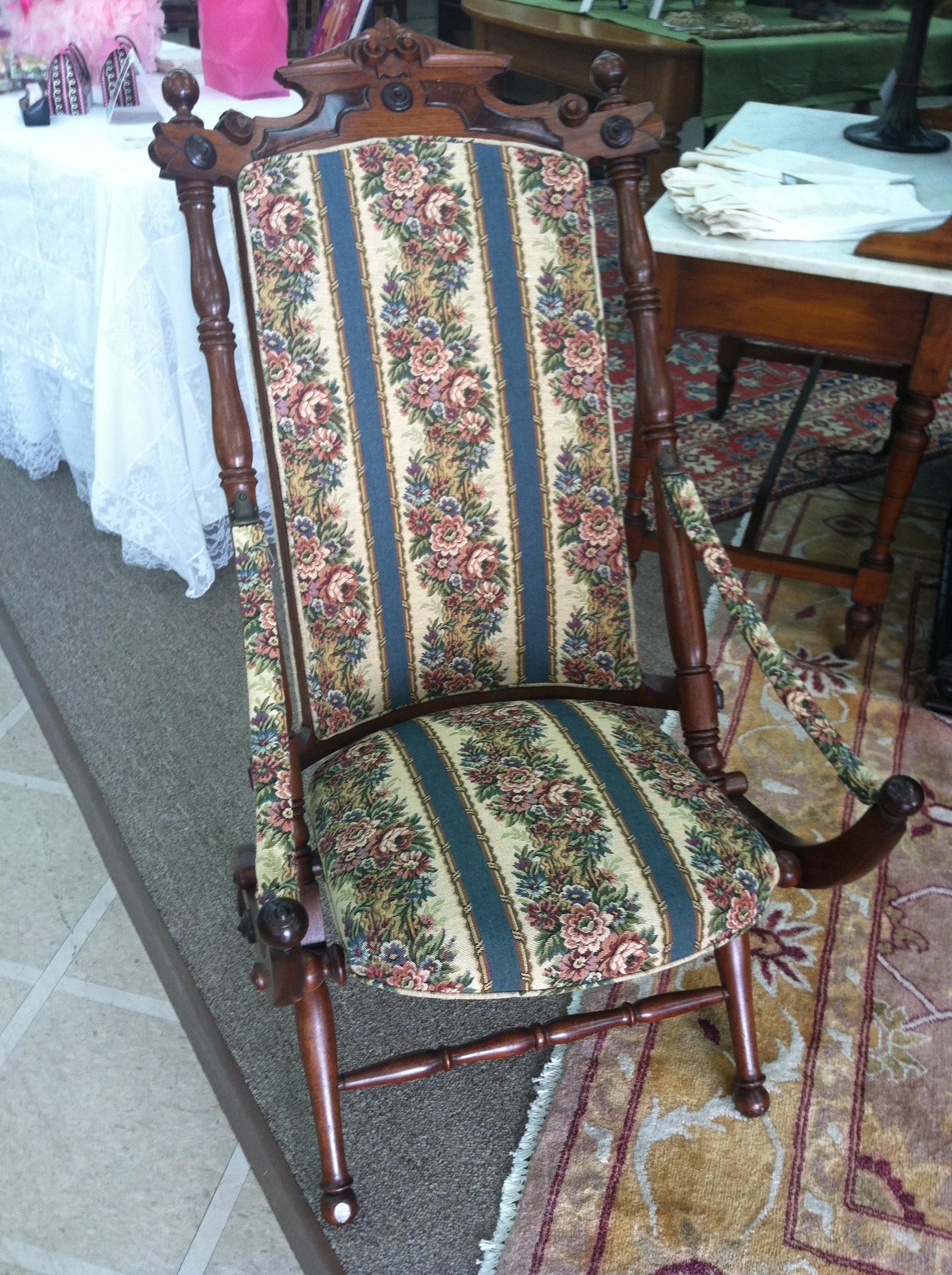 Gorgeous Antique Walnut Victorian Upholstered Folding