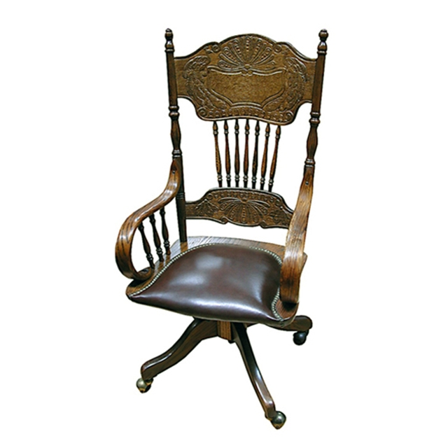 Oak Spindle Back Chair with Brown Leather Seat
