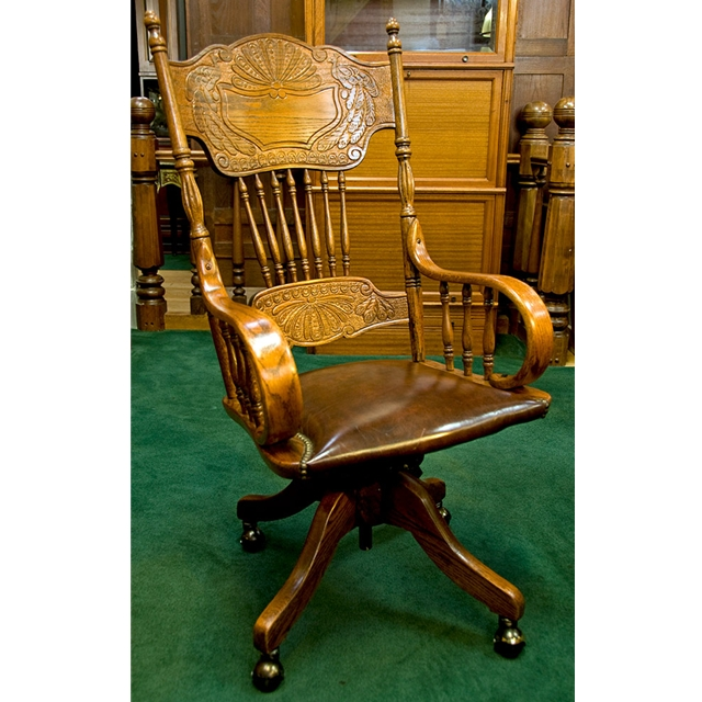 Large Oak Spindle Back Chair With Brown Leather Seat