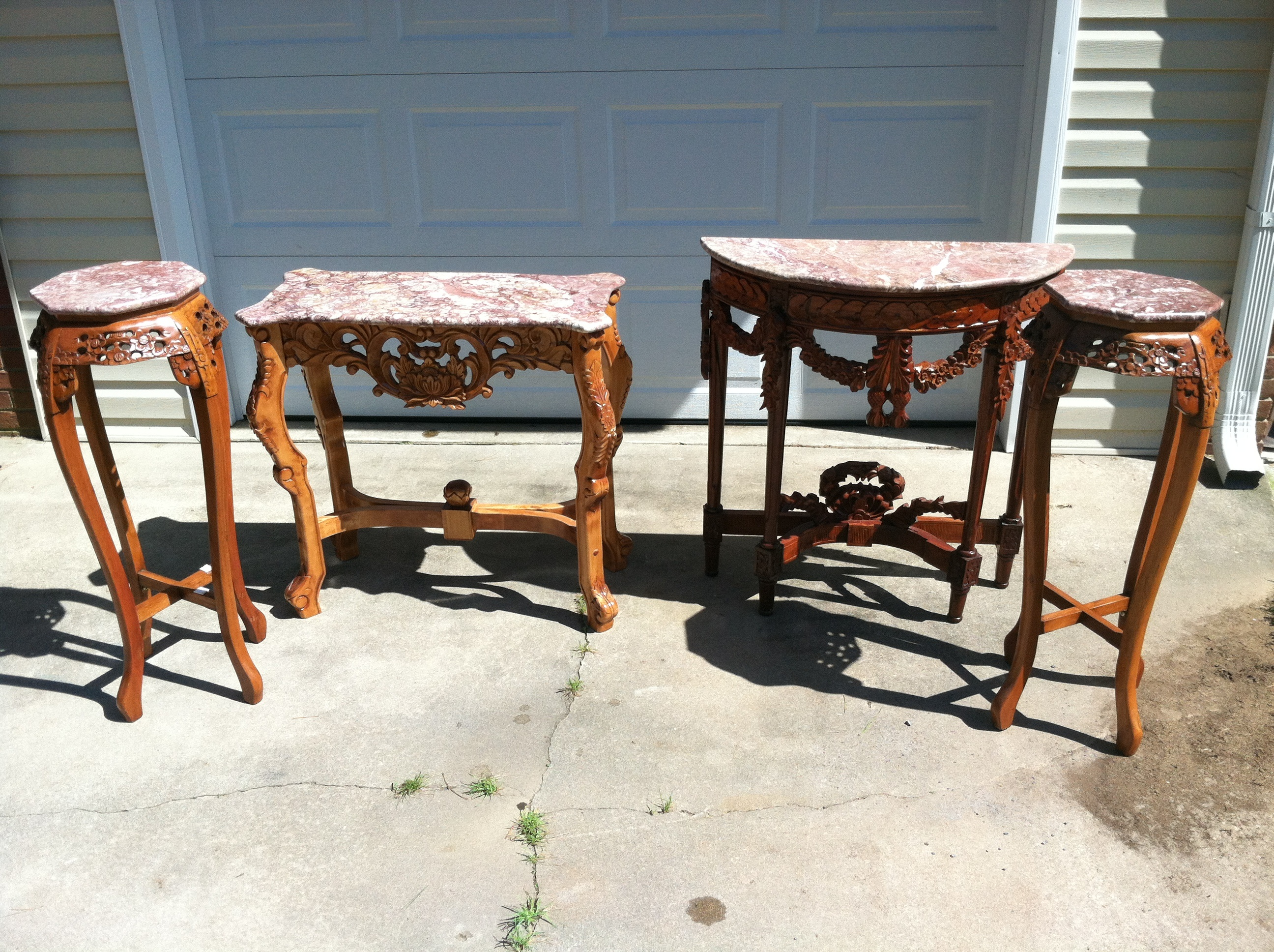 4 piece hand carved marble top table for sale antiques for Marble table tops for sale