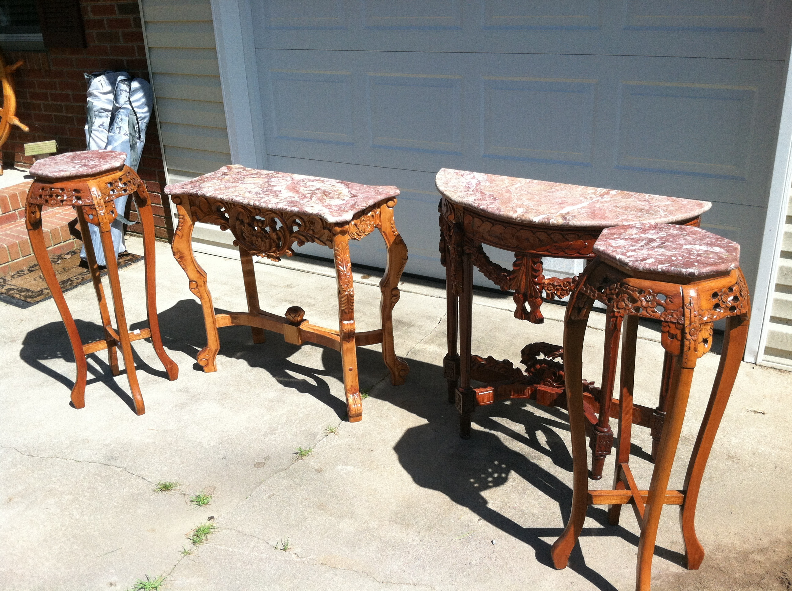 4 Piece Hand carved Marble Top Table For Sale