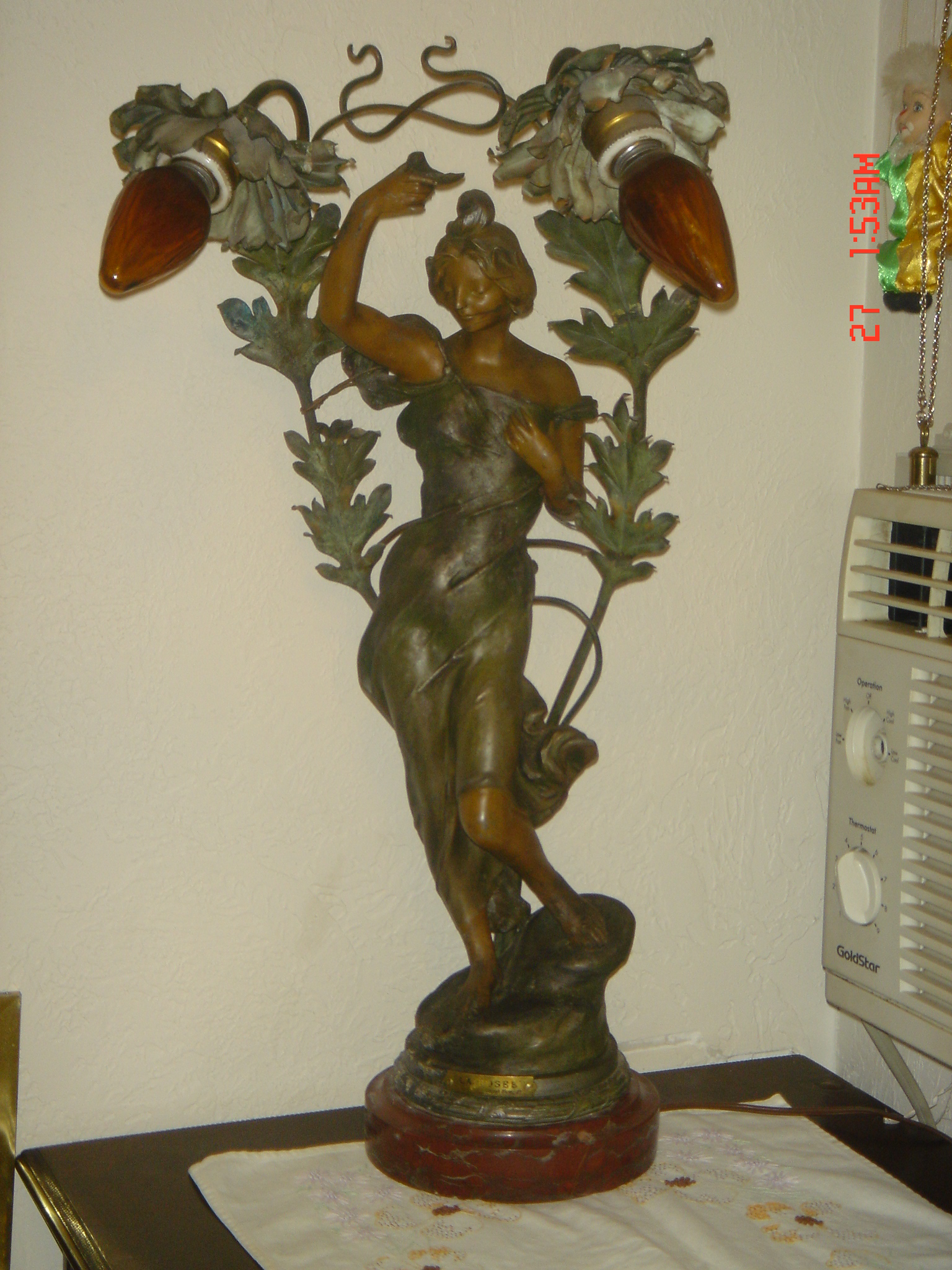 La Rosee by Julien Causse Lovely Lady Lamp For Sale