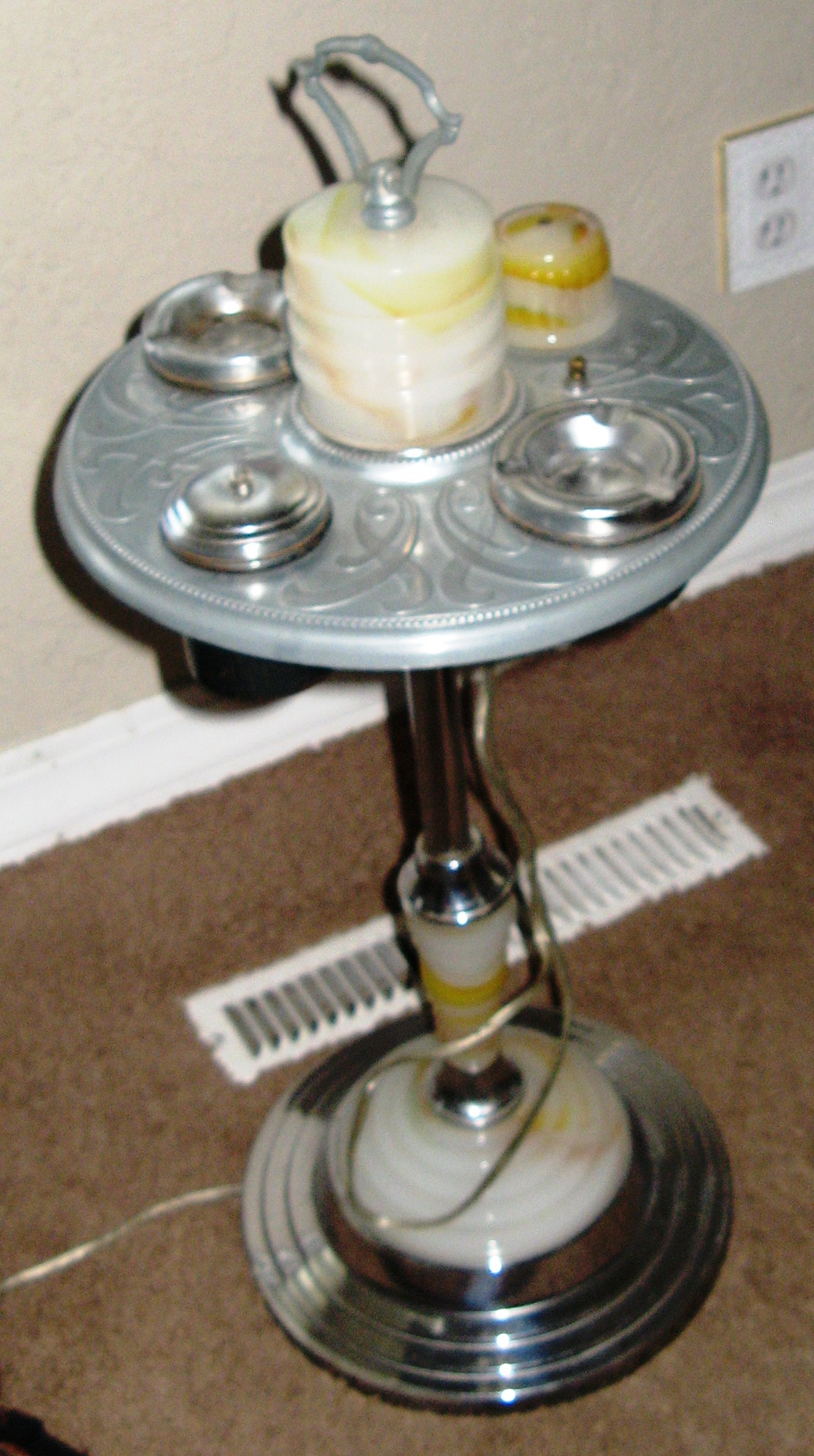 Abco 654 Floor Ashtray Smoking Stand Lamp Lighter For Sale