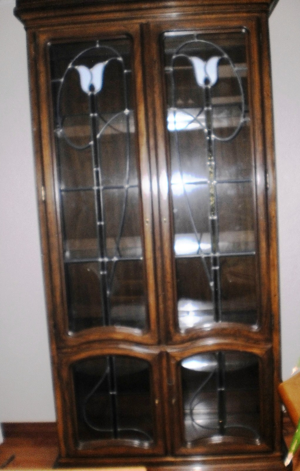 Leaded Glass And Stained Glass Cabinet   For Sale